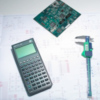 Calipers, calculator, electronic circuit on schematic diagram